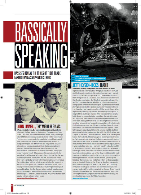 Jett Heysen-Hicks – Bass Guitar Magazine, September '15